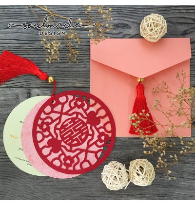 Round Chinese Traditional Die-cut with Chinese tassel Invitation Card