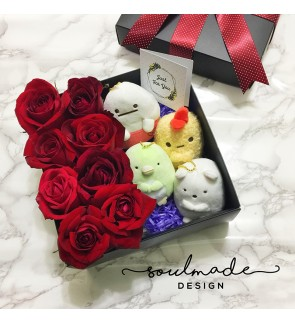 Cutie Pie Plush with Roses Gift Box