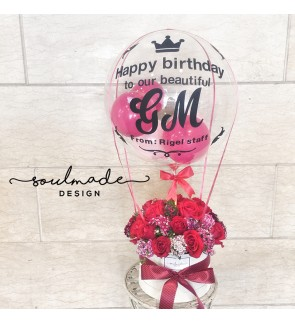 Hot Air Balloon themed Roses Gift Box