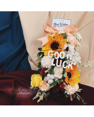 Sunflowers arrangement with easel stand